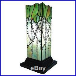 Table Lamp 1 Light Tiffany Style Stained Art Glass Vine Leaf Hurricane Pillar