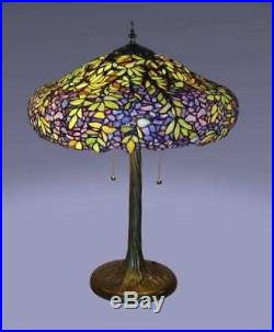 Table Lamp 3 Light Stained Glass Tiffany Style Leaves Floral Metal Base 18x 25