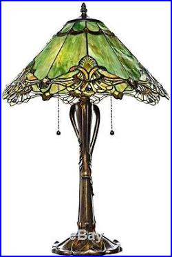 Table Lamp Lighting 25 Inch Tiffany Style Stained Glass Sea Green Crystal Lace