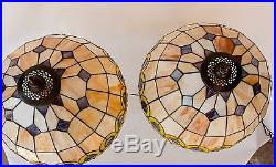 Table Lamp Pair Tiffany Style Lamps Stained Glass Bronze Set of 2 Vintage Lights