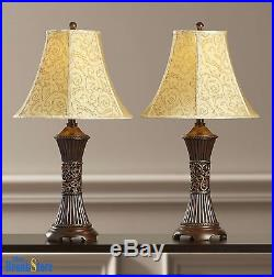Table Lamp Set 2 Vintage Traditional Lamps Pair Shade Nightstand Bedroom Light
