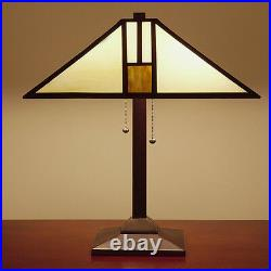 Table Lamp Tiffany Mission Style White Gold Stained Glass Shade Bronze Finish