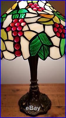 Table Lamp Tiffany Style Antique Brass Resin Base Stained Glass Coloured Effect