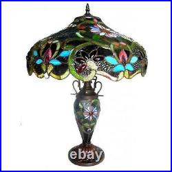 Table Lamp Tiffany Style Brown Stained Glass Shade 3 Light Antique Bronze Metal