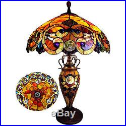 Table Lamp Tiffany Style Jeweled Red Stained Glass Shade Antique Bronze 2 Lights