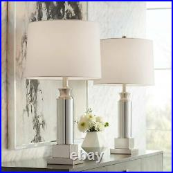 Table Lamps Set of 2 with USB Mercury Glass Silver Drum Shade for Living Room