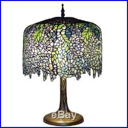 Table Lamps Tiffany Wisteria Bronze Tree Trunk Base Mission Stained Glass 27 in