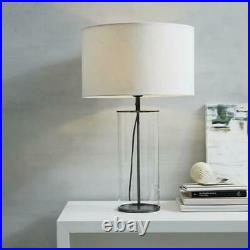 The White Company Pimlico Table Lamp Clear Glass/Black Metal Home Lighting Decor