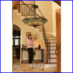 Tiffany 2 Light Table Lamp with Dome Art Glass Shade Tiffany Double Pull Chain