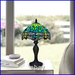 Tiffany Dragonfly Green Style Table Lamp Stained Glass Shade Multicolor