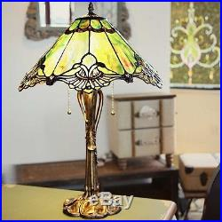 Tiffany End Table Lamp Decor Green Stained Glass Desk Bedside Victorian Style