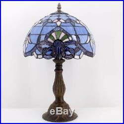 Tiffany Lamp 18 Inch Blue Purple Baroque Style Stained Glass Lavender Lampshade