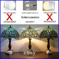Tiffany Lamp Sea Blue Stained Glass and Crystal Bead Dragonfly Style Table Lamps