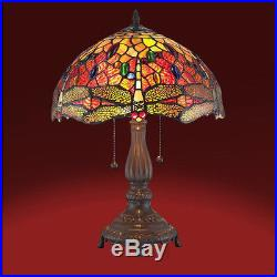 Tiffany Lamp Tiffany Style Dragonfly Table / Reading Lamp Stained Glass Red