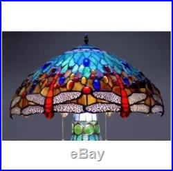 Tiffany Look Lamp Stained Glass Table Desk Office Den Library Home Multi-Colored