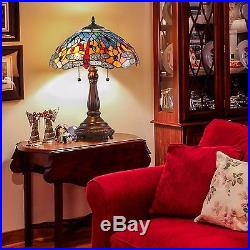 Tiffany Stained Glass Table Lamp 25 in Dragonfly Art Shade Bronze Home Decor New