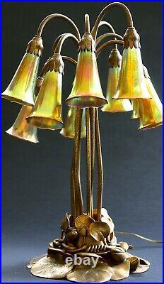 Tiffany Studios Ten-Light Lily Table Lamp, gold finish, LCT
