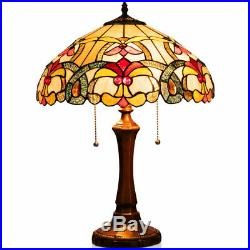Tiffany-Style 16 Reading Lamp Stained Glass Victorian Table Lamp With2-Light