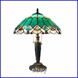 Tiffany Style 2 Light Table Lamp Green Brown Stained Glass Shade Antiques Bronze
