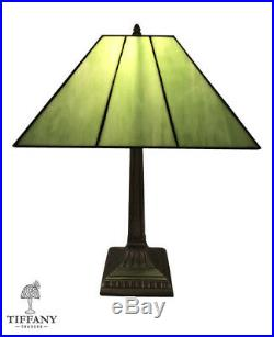 Tiffany Style 20 Green Mission Table Lamp. Stained Glass Home Decor Lighting