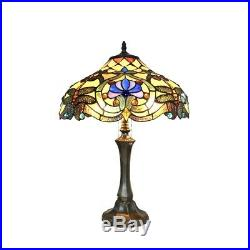 Tiffany Style 23 Art Nouveau Stained Glass 2 Bulb Dragonfly Table Desk Lamp
