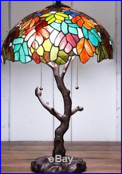 Tiffany Style 24.5 Tall Maple Leaf Stained Glass Table Lamp 16.5 Shade Tree