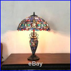 Tiffany Style 25 Tall Victorian Double-Lit Stained Glass Table Lamp 18 Shade