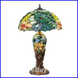 Tiffany Style 26 Tall Peacock Feathers Stained Glass Table Lamp 16 Shade