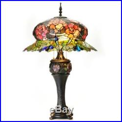 Tiffany-Style 32 Midnight Rose Double Lit Stained Glass Table Lamp