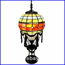 Tiffany Style Antique Bronze Hot Air Balloon Stained Glass Table Lamp