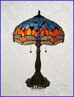 Tiffany Style Blue and Red Handcrafted Glass Dragonfly Table Lamp Shade 16