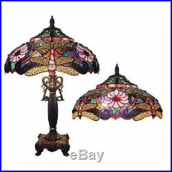 Tiffany Style Bronze Finish Dragonfly Table Lamp Accent Reading Stained Glass