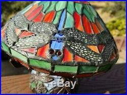 Tiffany Style Bronze Table Lamp Stained Glass Dragonfly Mosaic Base 10 inch