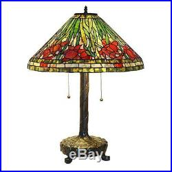 Tiffany Style Daffodil 25 in. Bronze Table Lamp Stained Glass Handcrafted Lamp