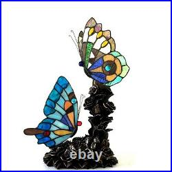 Tiffany Style Double Butterfly Accent Nursery Night Light Stained Glass Lamp