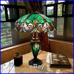 Tiffany Style Double Lit 2+1 Light Antique Stained Glass Art Base Table Lamp