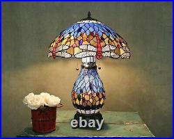 Tiffany Style Dragonfly Blue Table Lamp WithIlluminated Base 18 Shade