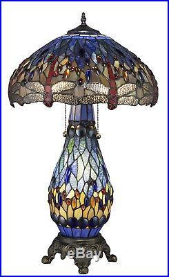 Tiffany Style Dragonfly BlueTable Lamp WithIlluminated Base 18 Shade