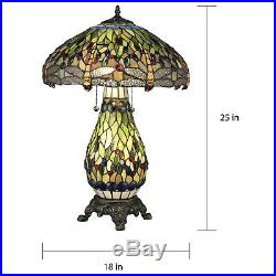 Tiffany Style Dragonfly Green Table Lamp WithIlluminated Base 18 Shade