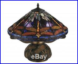 Tiffany Style Dragonfly Lamp Cut Stained Glass Reading Table Green Mosaic Base