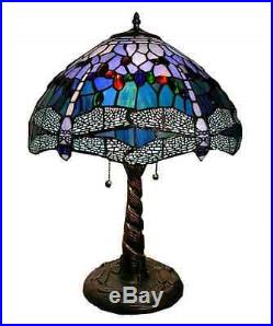 Tiffany Style Dragonfly Table / Desk Lamp Blue Handcut Stained Glass FREE SHIP