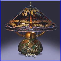 Tiffany Style Dragonfly Table Lamp Blue Stained Glass Pattern Base/ Shade 14