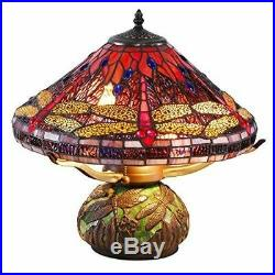 Tiffany Style Dragonfly Table Reading Accent Lamp Mosaic Base 16 Stained Glass