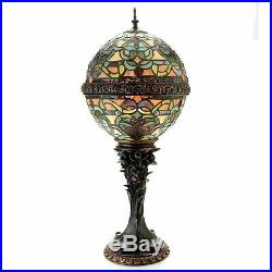 Tiffany-Style Empress Orb 27in Stained Glass Table Lamp Spice Open Box