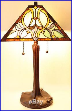 Tiffany Style Floral Motif Table and Floor Lamp Set 16 Shade