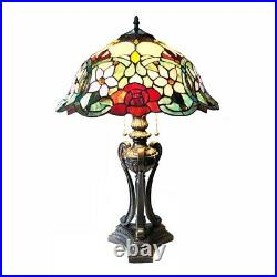 Tiffany Style Floral Stained Glass Table Lamp 2 Bulbs 26 H Dark Bronze Base