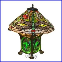 Tiffany Style Green Dragonfly Table Lamp Turquoise Stained Glass