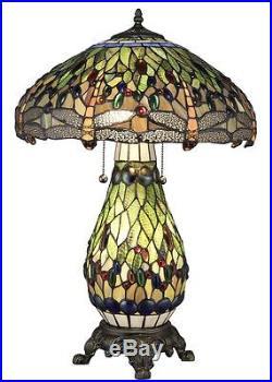 Tiffany Style Green Dragonfly Table Lamp WithIlluminated Base 18 Shade