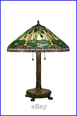 Tiffany Style Green Dragonfly Table Lamp with Library Base 16 Shade