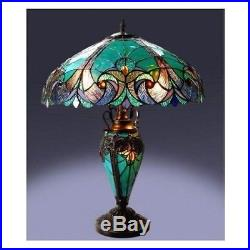 Tiffany Style Halston Double Lit 2 1 Light Turquoise Amber Glass Table Lamp NEW